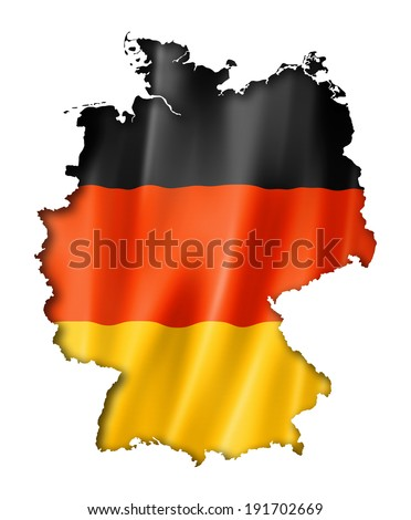 Germany flag map, three dimensional render, isolated on white - stock photo