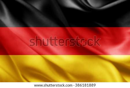 Germany flag of silk  - stock photo