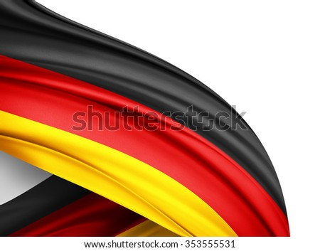 Germany   flag of silk with copyspace for your text or images and white background - stock photo