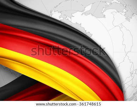 Germany  flag of silk with copyspace for your text or images and world background - stock photo
