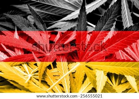 Germany Flag on cannabis background. Drug policy. Legalization of marijuana - stock photo