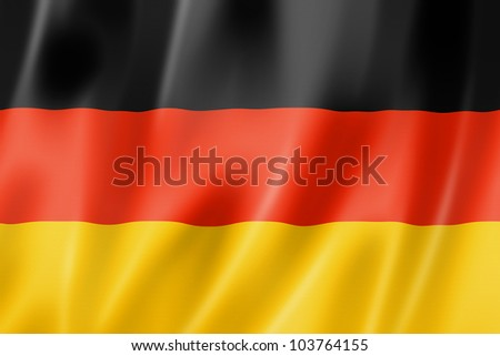 Germany flag, three dimensional render, satin texture - stock photo