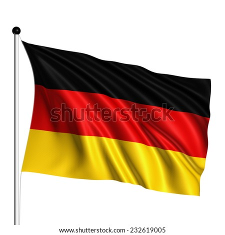 Germany flag with fabric structure on white background