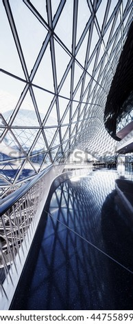 GERMANY, FRANKFURT MAIN - JUNE 10, 2015: Futuristic interior of the modern shopping mall MyZeil in the city of Frankfurt