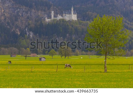 GERMANY - Fuessen ; 01 MAY 2016 Neuschwanstein Castle, Germany. Image of the Neuschwanstein Castle surrounded with autumn colours during sunset.