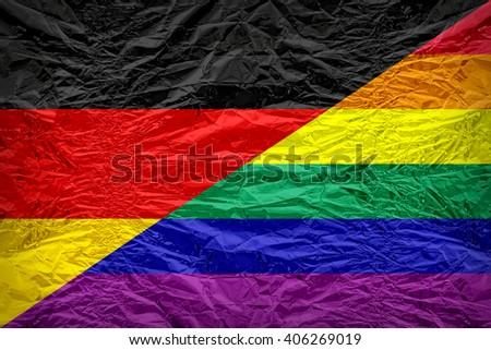 Germany Gay flag pattern overlay on floyd of candy shell, vintage border style