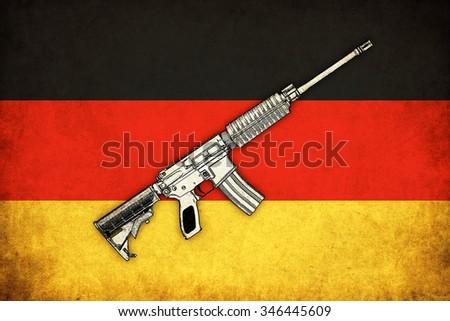 Germany grunge flag background with guns illustration of war - stock photo