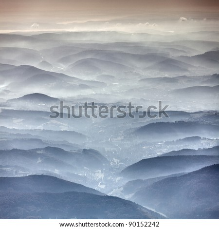 Germany hills from above - stock photo