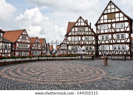Germany. Houses in Homberg Efze. - stock photo