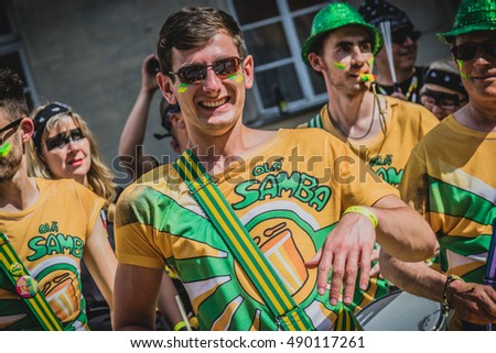 GERMANY - JULY 2016: Drummer takes part in the 25th Coburg Samba Festival. Coburg Samba Festival takes place over three days every July.