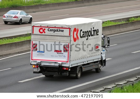 GERMANY-JUNE 02:truck of CargoLine on the highway on June 02,2016 in Germany.
