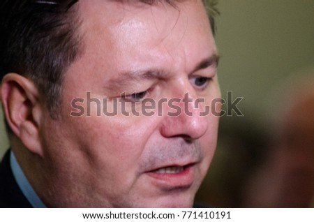 GERMANY, LEIPZIG - DEZEMBER 07, 2017: Andreas Geisel, Interior Minister of the SPD in Berlin, in conversation with the press at the Conference of Interior Ministers