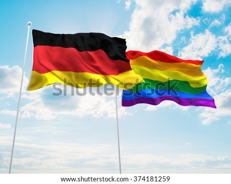 Germany & LGBT Community Pride Flags are waving in the sky