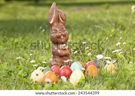 Germany, Lower Bavaria, Variety of Easter eggs on grass - stock photo