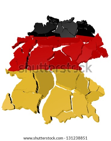 Germany map cracked, conceptual representation of national crisis - stock photo