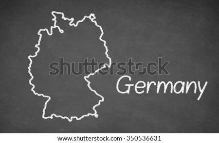 Germany map drawn on chalkboard. Chalk and blackboard. - stock photo
