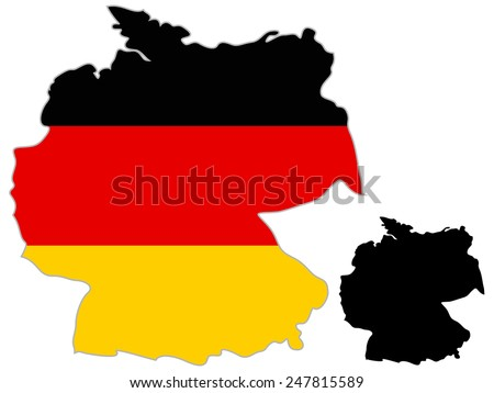 Germany map flag on a white background.