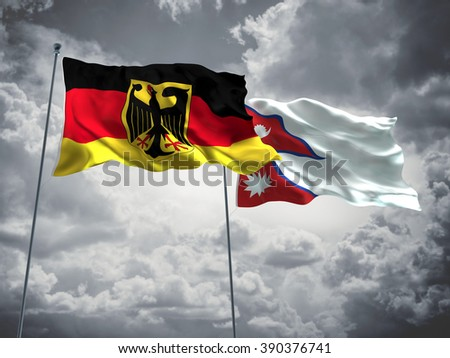 Germany & Nepal Flags are waving in the sky with dark clouds - stock photo
