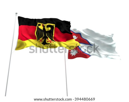 Germany & Nepal Flags are waving on the isolated white background - stock photo
