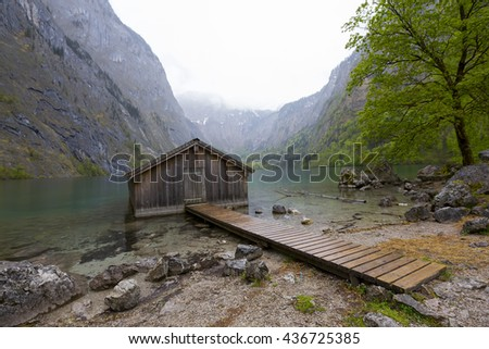 GERMANY -Obersee; 01 MAY 2016 ,Mountain scenery with sun light. Lake Obersee, Bavaria, Germany