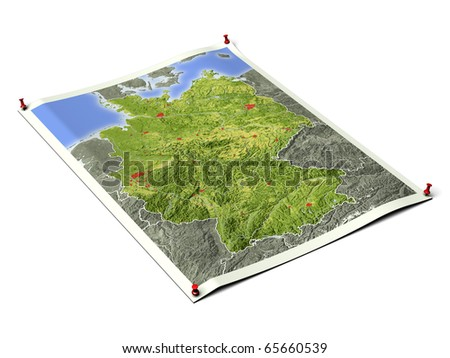 Germany on unfolded map sheet with thumbtacks. Map colored according to vegetation, with borders and major urban areas. Includes clip path for the background.