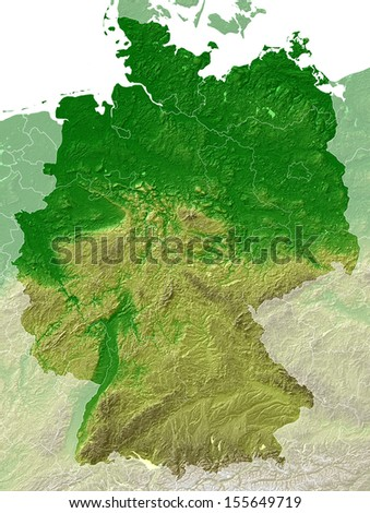 Germany - relief map + borders
