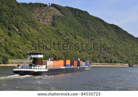 Germany, Rhine Valley, Unesco World Heritage, freight ship on Rhine river