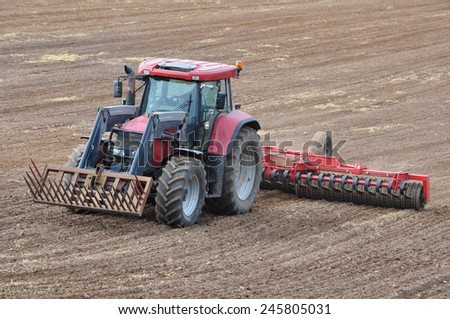 Germany - Schleswig Holstein - October 10, 2014: grain sowing for cultivation - stock photo