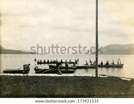 GERMANY - September 1925: An antique photo shows boat race - stock photo