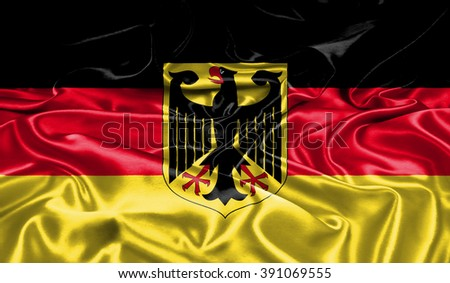 Germany silk flag.  Original and simple Germany flag. - stock photo