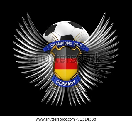 Germany Soccer Ball - easy to isolate over black background - stock photo