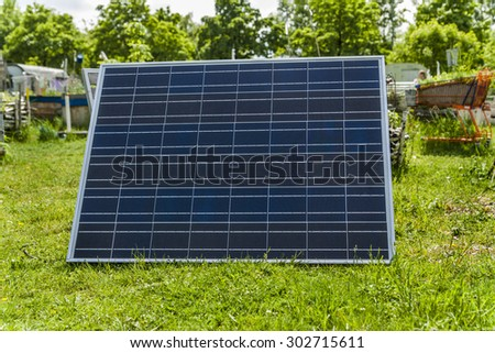 Germany, solar cell in garden - stock photo