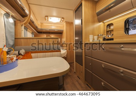Germany, Stuttgart, 19 January 2015: Inside of modern camper