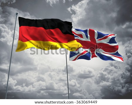 Germany & United Kingdom, England Flags are waving in the sky with dark clouds