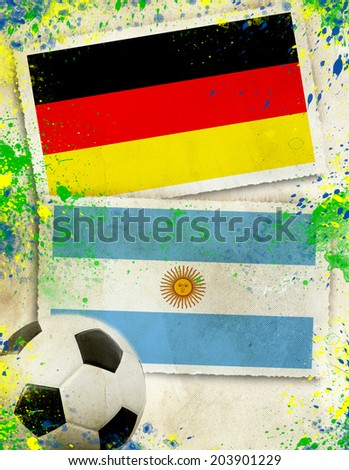 Germany vs Argentina soccer ball concept - final - stock photo