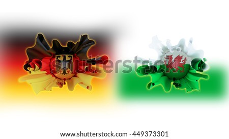 Germany vs wale flag with soccer football ,  flag blurred on  white background ,3d illustration,Concept sport