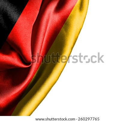 Germany waving silky flag isolated on white background - stock photo