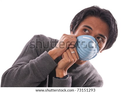 Germaphobic Male Hiding Back with Respiratory Mask