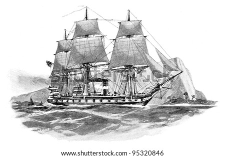 Gerrman steam frigate (Elisabeth) / vintage illustration from Meyers Konversations-Lexikon 1897 - stock photo