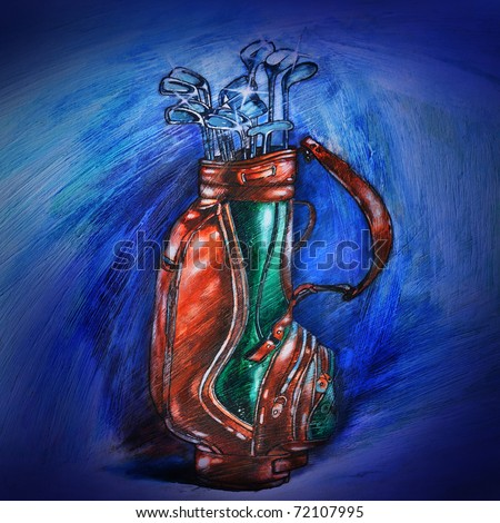 Gesso illustration of Golf bag and clubs. I am the original artist of this painting.