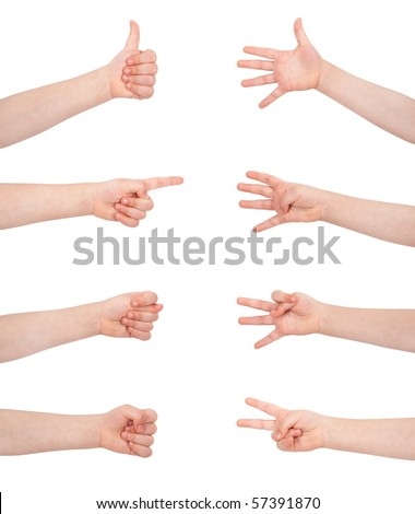 gesture communication signs - stock photo