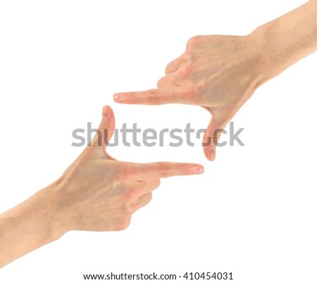 Gesture hands. frame composition with two hands isolated on white background