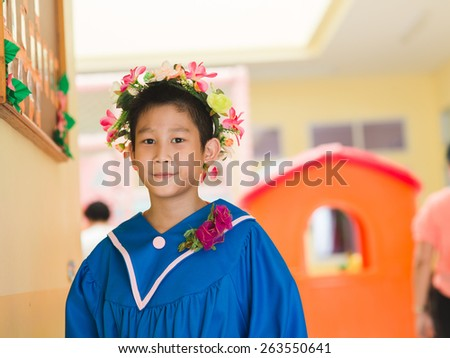 Gesture, happy children in a series of graduated isolated on yellow background. - stock photo