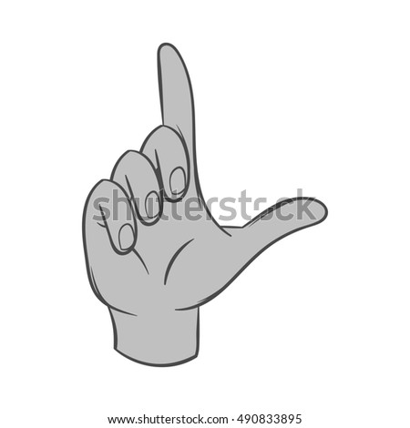 Gesture idea icon in black monochrome style isolated on white background. Gestural symbol.  illustration