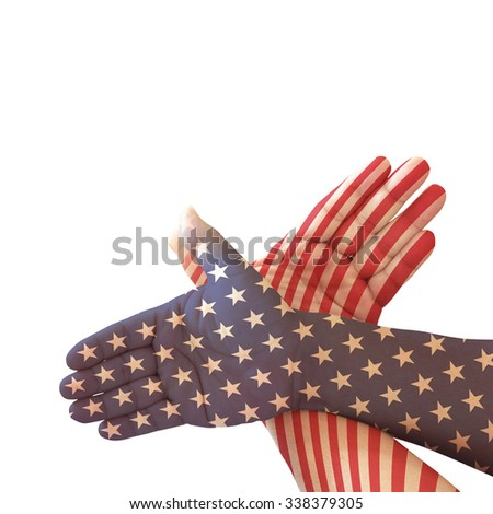 Gesture made by american flag colored hands showing symbol of eagle isolated on white background. Concept for Independence Day and other events. - stock photo