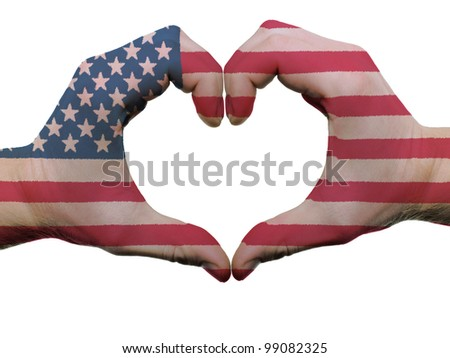 Gesture made by american flag colored hands showing symbol of heart and love, isolated on white background - stock photo