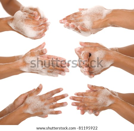 gesture of a beautiful woman hand washing her hands - stock photo