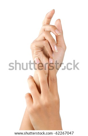 gesture of beautiful young woman's hand doing massage - stock photo