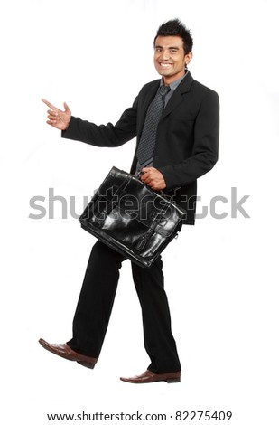 gesture of Businessman stepping up the stair isolated on white - stock photo