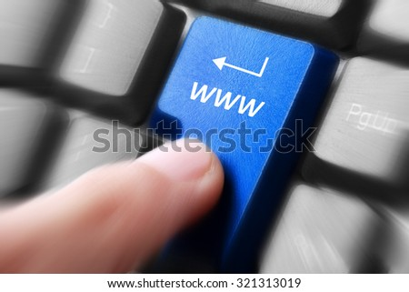 Gesture of finger pressing www button on a computer keyboard - stock photo